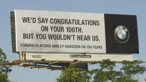 Sign for Harley-Davidson 100th Anniversary